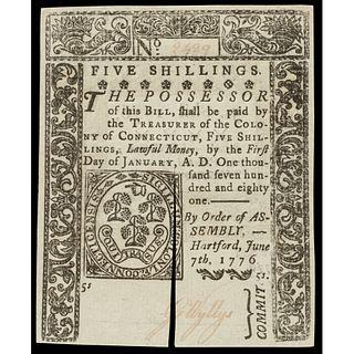 Colonial Currency, Conn. June 7, 1776 Five Shillings, Slash Cancel PMG CU-64 EPQ