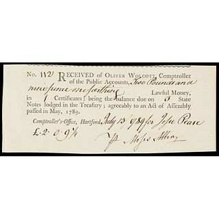 Oliver Wolcott Jr. 1789 Printed Document to Moses Allen, Private at Valley Forge