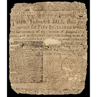 Colonial Currency Delaware Feb. 28, 1746 5 Shillings Ben Franklin Printed Issue