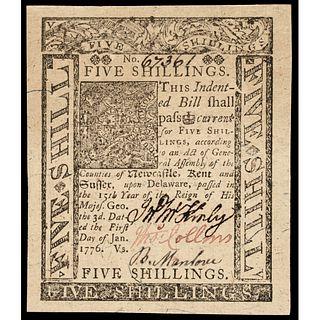 Colonial Currency. DE. January 1, 1776 5 Shillings, Jumbo Margins GEM Crisp Unc.