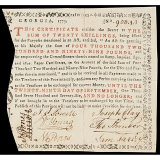 Colonial Currency, Georgia. 1773. Twenty Shillings. Fully Signed and Issued