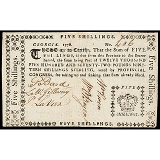Colonial Currency, GA. 1776, Five Shillings, CROWN vignette, Choice Very Fine-35