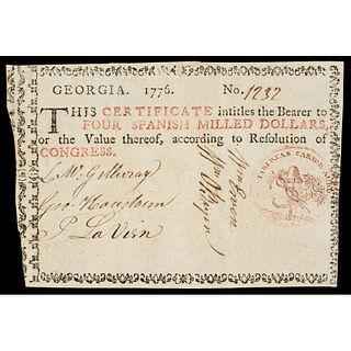 Colonial Currency Georgia 1776 Act $4 Maroon Seal Liberty Cap vignette PMG VF-30