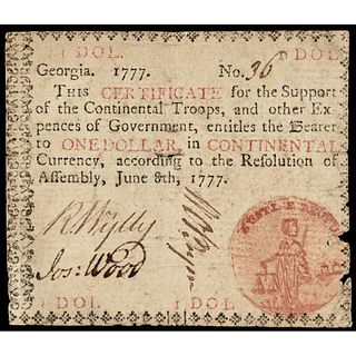 Colonial Currency, Rare Georgia June 8, 1777 with Black in, PCGS Very Fine-20