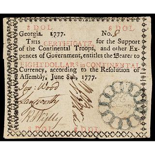 Colonial Georgia. June 8, 1777 $8 Continental Congress Thirteen Links Vignette
