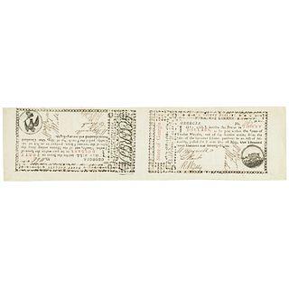 Colonial Currency, GA. May 1778 Unc. Uncut Note Pair $30 Boar + $40 Dove / Sword