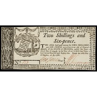 Colonial Currency, Georgia Oct. 16, 1786. 2s6p. PASS-CO Choice AU-58 SPQR