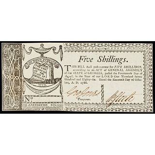 Colonial Currency, Georgia. Oct. 16, 1786. 5 Shillings Choice Crisp Uncirculated