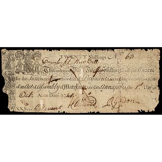 Colonial Currency Unique Oct 1, 1748 Maryland Contemporary Counterfeit PCGS F-12