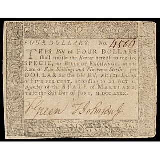 Colonial Currency, Maryland, June 8, 1780 $4 BLACK MONEY Issue Note Rarity