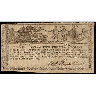 Colonial Currency, Maryland. July 26, 1775 $2-2/3 Allegorical / Gunpowder Note