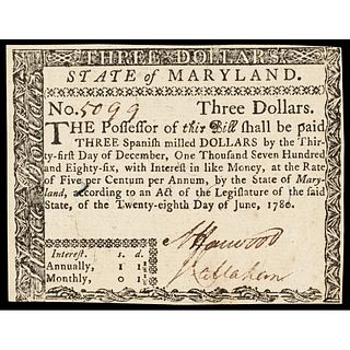 Colonial Currency, MD June 28 1780, $3 Guaranteed Issue. Fully Signed. Choice AU