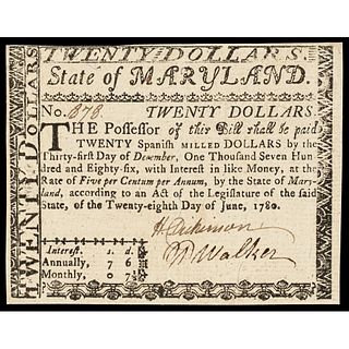 Colonial Currency. Maryland June 28, 1780 Twenty Dollars Guaranteed Issue Signed