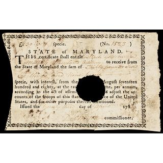 1783 Revolutionary War Maryland 6 Percent Interest Soldiers Payment