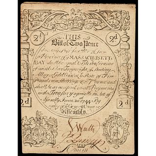 Colonial Currency Massachusetts Bay June 20, 1744 Two Pence CFT PCGS graded EF40