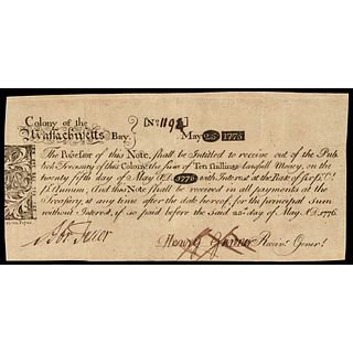 Colonial Currency, Rare Mass. May 25, 1775 PAUL REVERE Engraved Note PCGS VF-30