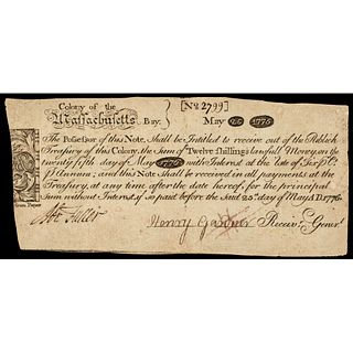 Colonial Currency PAUL REVERE Engraved Mass May 25, 1775 12 Shillings PCGS VF-25