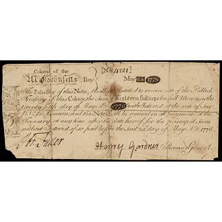 Colonial Currency MA. May 25, 1775 Paul Revere Design Indent Note CFT. PCGS VF20