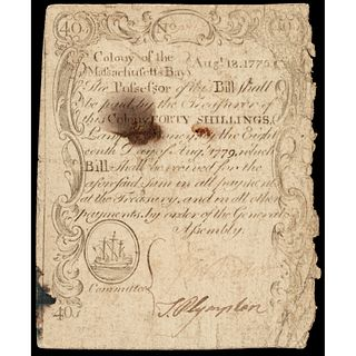 Colonial Currency Aug. 18, 1775 Paul Revere Engraved 1st MA. Sword in Hand Issue