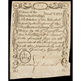 Paul Revere Engraved Dec. 7, 1775 MA 14s Sword In Hand Minuteman Note PCGS EF-40