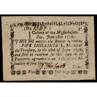 Colonial Currency, Massachusetts June 18, 1776 PMG AU-53 EPQ + Finest Certified!