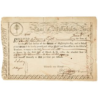 June 1778 American Revolutionary War Massachusetts Bay Treasury Loan Certificate