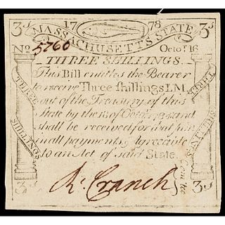 Colonial Currency, Paul Revere Engraved 1778 CODFISH Issue PMG Choice Unc-63