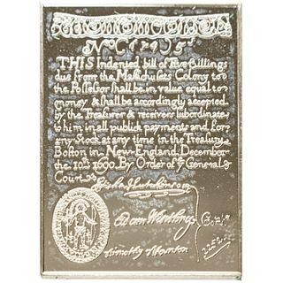 1690 MA. 5 Shillings Sterling Silver Banknote Franklin Mint Replica, Gem Unc.