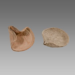 Lot of 2 Iron Age Terracotta Oil Lamps c.1400 BC.