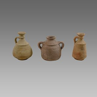 Lot of 3 Holy land Herodian Terracotta Vessels c.200 BC.