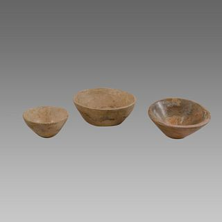Lot of 3 Bactrian Stone Bowls c.200 BC.
