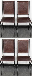 Morgan Colt Style Leather & Steel Side Chairs, 4