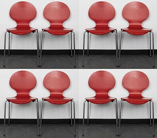 Arne Jacobsen Red Series 7 Side Chairs, 8