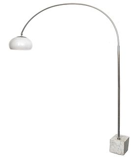 Arco Style Chrome Floor Lamp with Marble Base