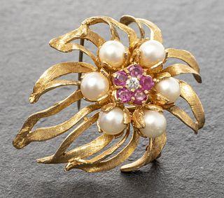14K Yellow Gold Pearl, Ruby & Diamond Brooch / Pin