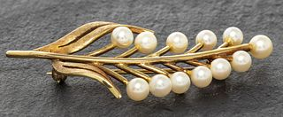 Vintage 14K Yellow Gold Pearl Pin / Brooch