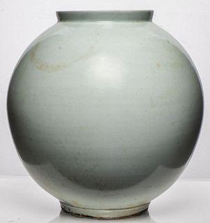 Korean White Glazed Large Ceramic Moon Jar