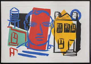 """Tom Slaughter """"Man & House"""" Acrylic on Paper 1990"""