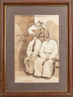 """Antonio Lopez Saenz """"Carstens & Bloch"""" Watercolor"""