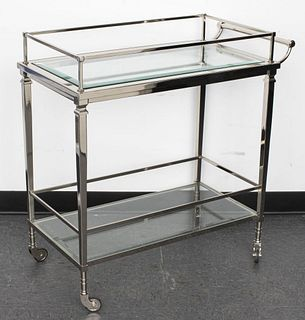 Modernist Chrome And Glass Bar Cart