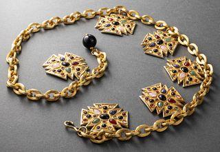 Judith Leiber Maltese Cross Chain Link Belt