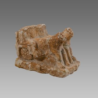 Near Eastern Style Limestone Chariot With Lions.