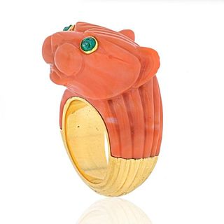 DAVID WEBB 18K TWO TONE SOLID FLUTED CORAL PANTHER