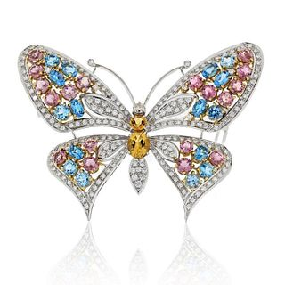 BUTTERFLY 18K WHITE GOLD MULTICOLOR GEMSTONE