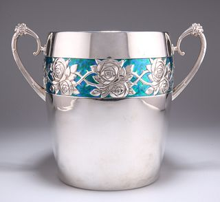 A LARGE GERMAN ART NOUVEAU SILVER-PLATED AND ENAMEL ICE BUC
