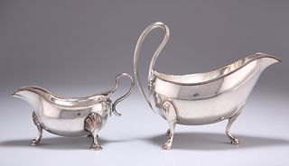 TWO OLD SHEFFIELD PLATE SAUCEBOATS, the smaller stamped 'LA