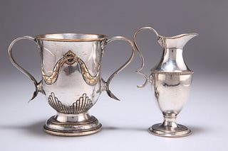AN OLD SHEFFIELD PLATE TWO-HANDLED CUP, CIRCA 1785, with re