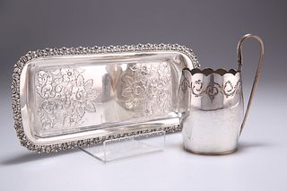 AN OLD SHEFFIELD PLATE CREAM JUG, CIRCA 1780, engraved with