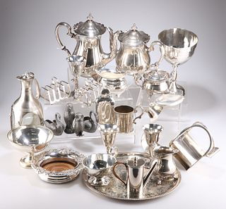 A COLLECTION OF SILVER-PLATE, including large spot-hammered