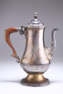 AN OLD SHEFFIELD PLATE COFFEE POT, CIRCA 1770, of baluster